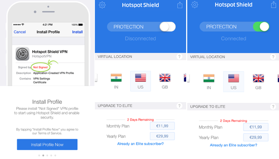 Free iOS VPN - Hotspot Shield VPN iOS Usage